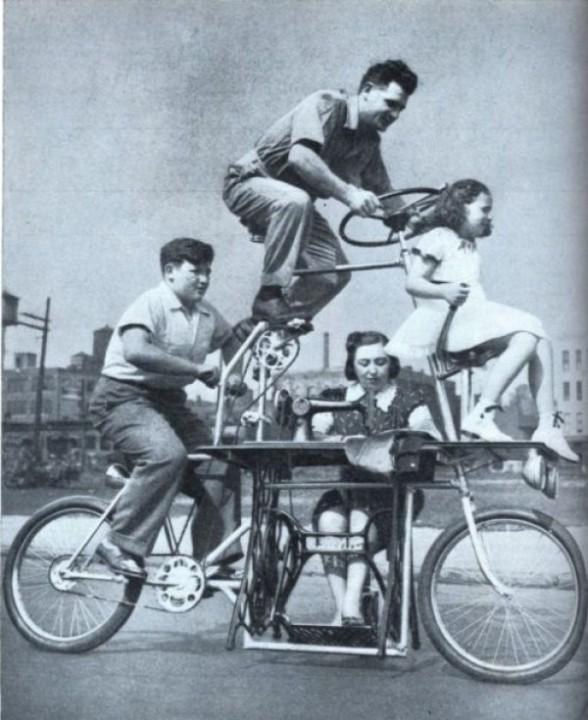 Familien-Fahrrad mit einer Naehmaschine