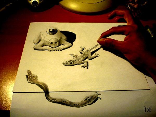 Flache Bleistiftzeichnungen in 3D Fredo 02