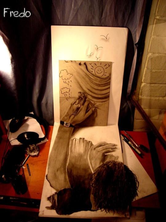Flache Bleistiftzeichnungen in 3D Fredo 03