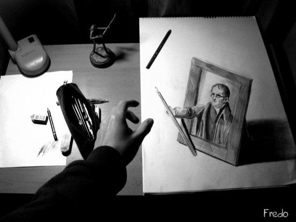 Flache Bleistiftzeichnungen in 3D Fredo 04