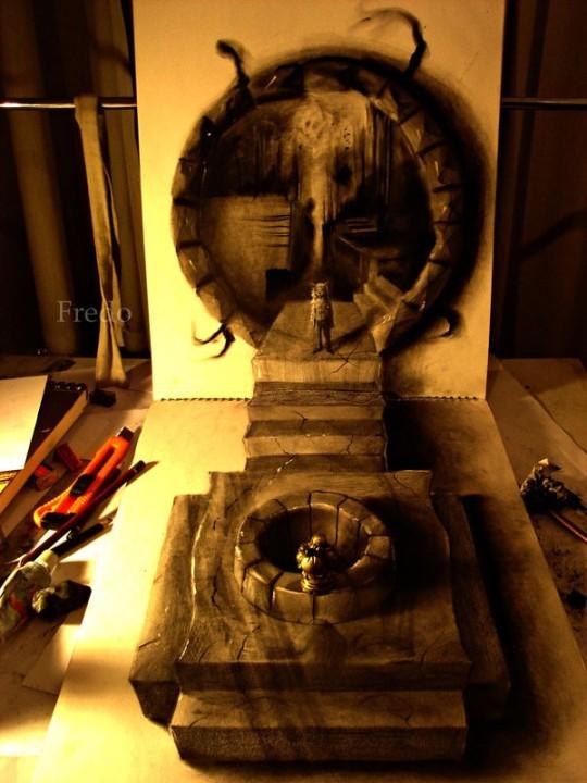 Flache Bleistiftzeichnungen in 3D Fredo 06