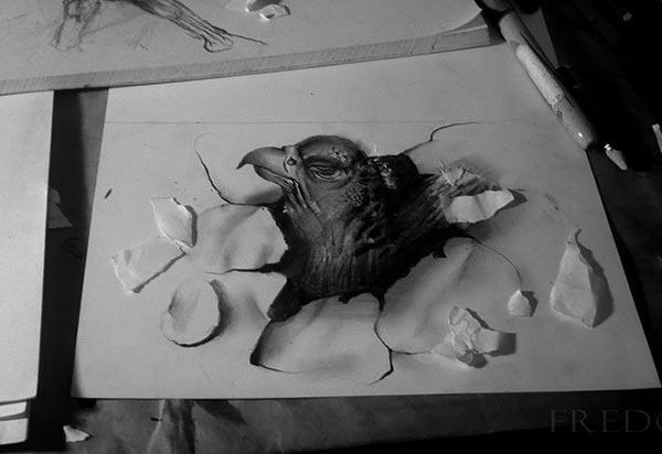 Flache Bleistiftzeichnungen in 3D Fredo 07