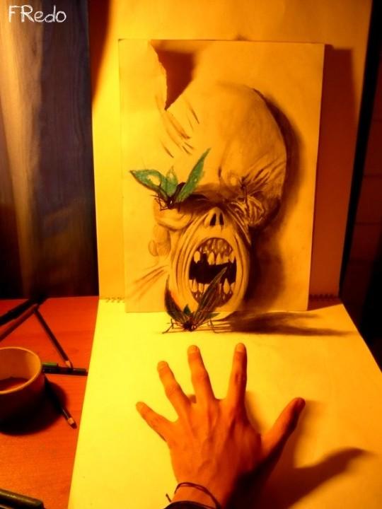 Flache Bleistiftzeichnungen in 3D Fredo 09