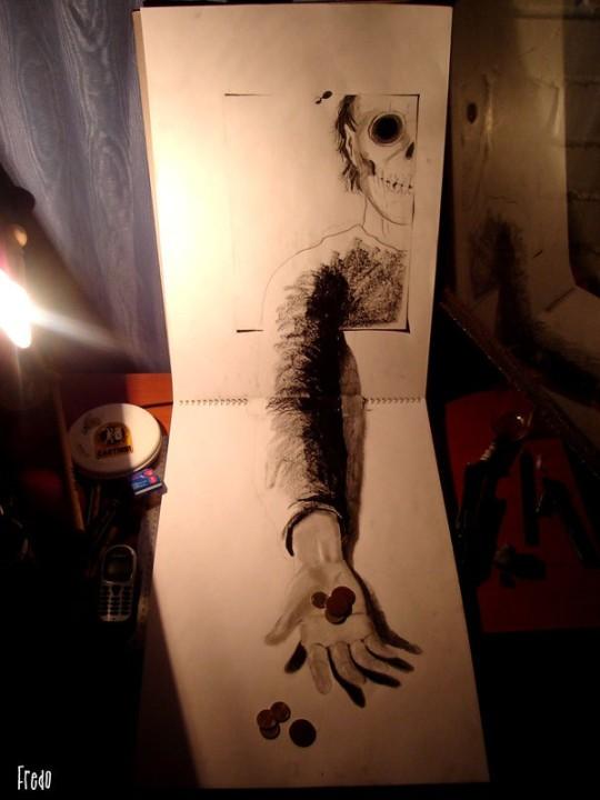 Flache Bleistiftzeichnungen in 3D Fredo 10