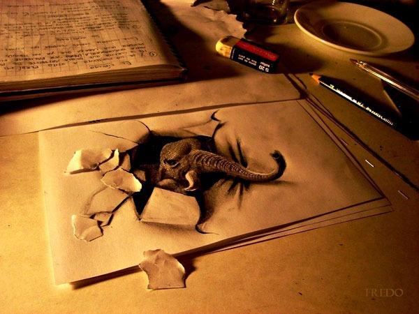 Flache Bleistiftzeichnungen in 3D Fredo 11
