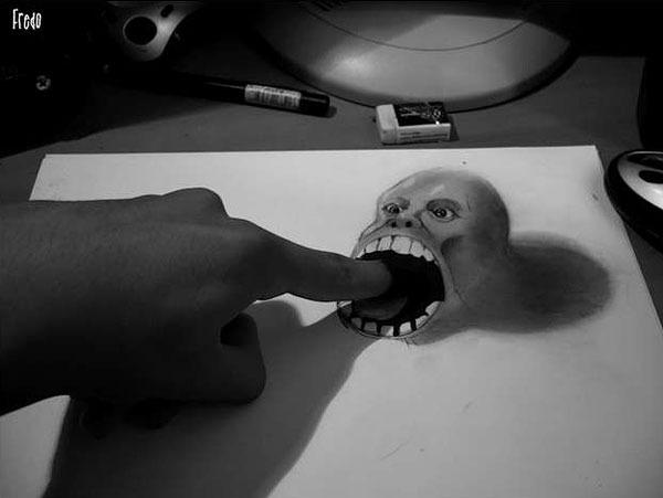Flache Bleistiftzeichnungen in 3D Fredo 12
