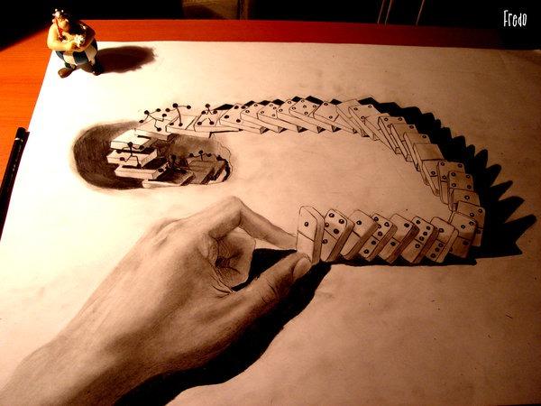 Flache Bleistiftzeichnungen in 3D Fredo 18