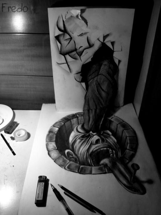 Flache Bleistiftzeichnungen in 3D Fredo 19
