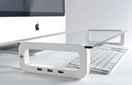 Glastisch mit USB-Port fuer Menschen, die der Apple Technologie treu sind