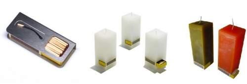 Kerzen mit integrierten Streichhoelern