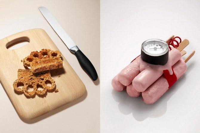 Lebensmittel in Form von Waffen 02