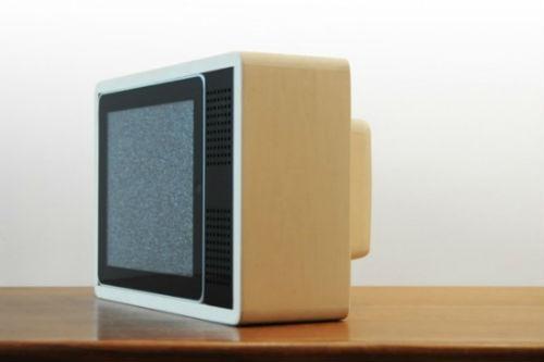 Staender fuer das iPad in Form von Retro-TV