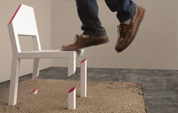 Stuhl auf einem Bein