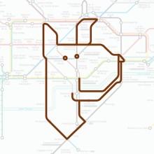 Tiere auf einer U-Bahn-Karte 01