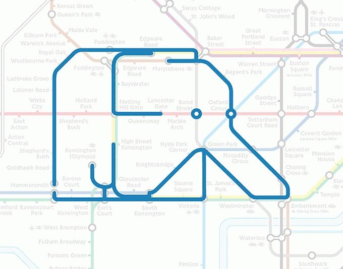Tiere auf einer U-Bahn-Karte 02