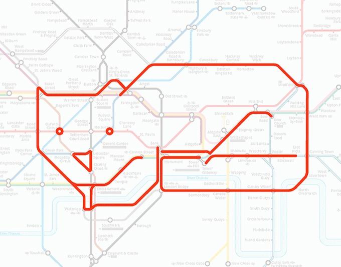 Tiere auf einer U-Bahn-Karte 03
