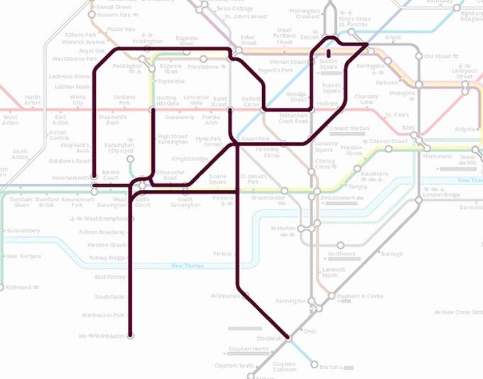 Tiere auf einer U-Bahn-Karte 08