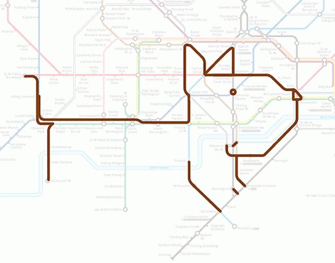Tiere auf einer U-Bahn-Karte 09