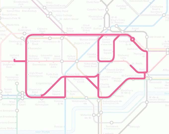 Tiere auf einer U-Bahn-Karte 13