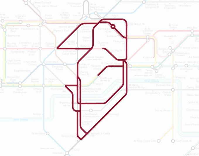 Tiere auf einer U-Bahn-Karte 14