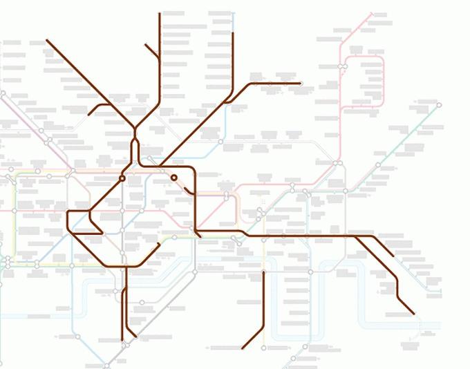 Tiere auf einer U-Bahn-Karte 16