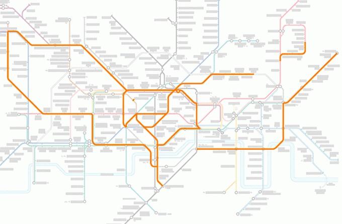 Tiere auf einer U-Bahn-Karte 17