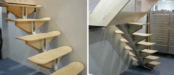 Treppe aus Skateboards gemacht
