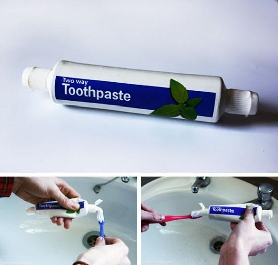Zweiseitige Zahnpasta