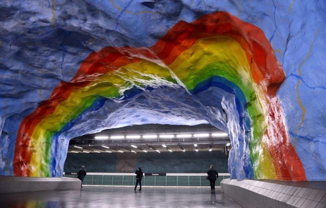 Der U-Bahnhof Stadion in Stockholm