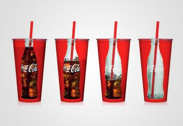 Glas Coca-Cola, kontinuierlich nachgefuellt