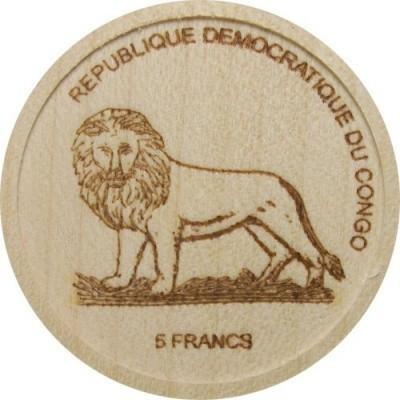Kongo, 5 Franc-Muenze aus Holz