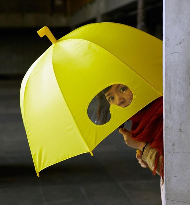 Regenschirm mit Brille