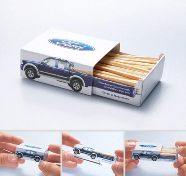 Streichhoelzchen in Ford-Pickup-Werbung