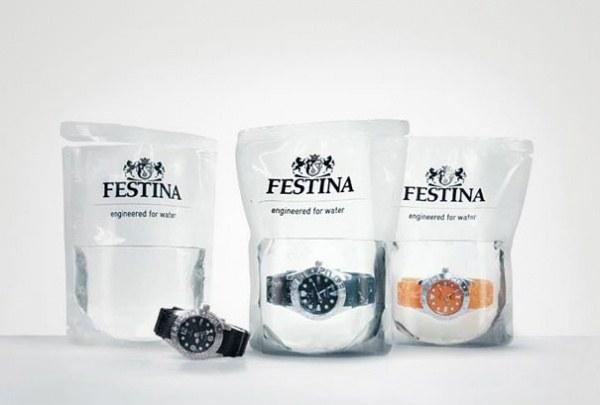 Werbung fuer wasserdichte Uhr Festina 1