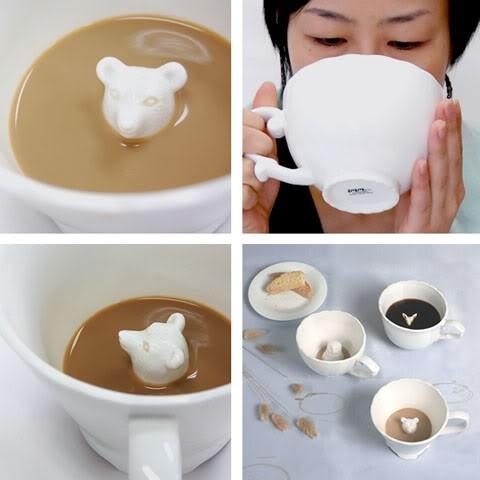 Die Tassen mit den versteckten Figuren von Tieren