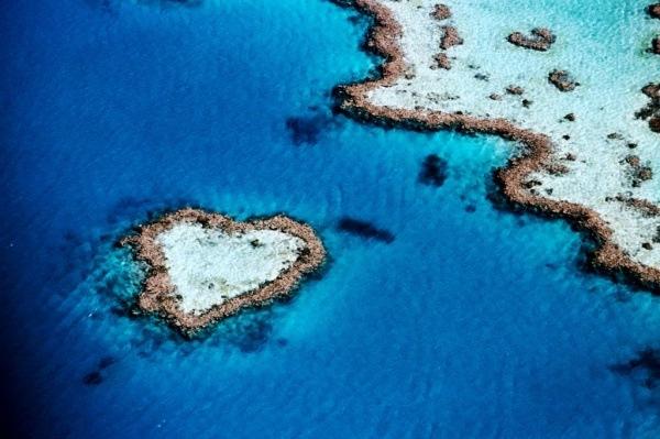 Insel in Form von einem Herz, Queensland, Australien