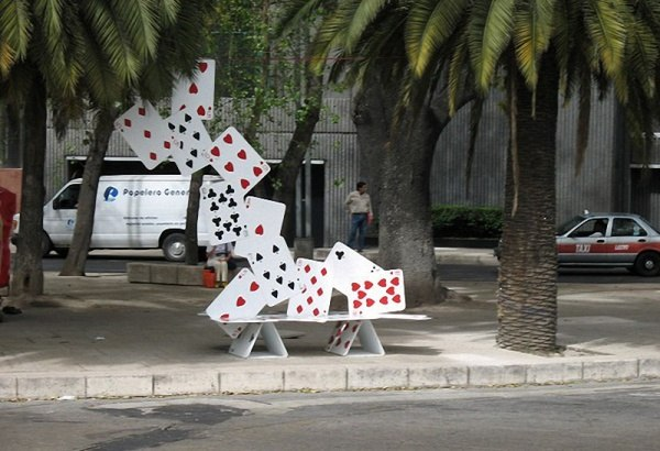 Bank aus Karten in Mexico