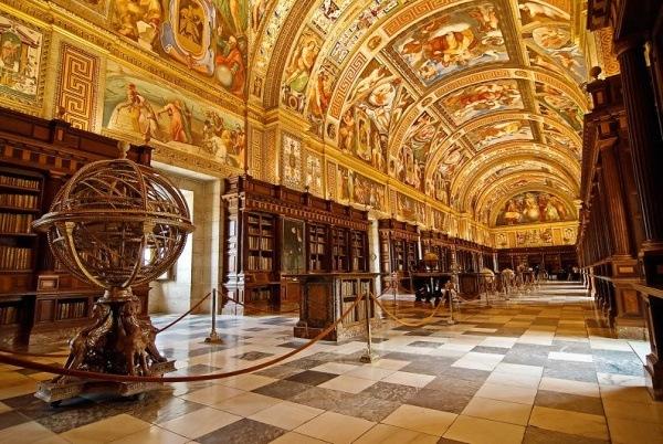 Die Bibliothek im Kloster El Real, Madrid, Spanien