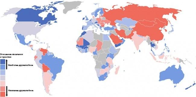 Karte der Einstellung der Bevoelkerung gegenueber Touristen