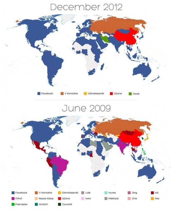 Karte vom Weltsieg der sozialer Netzwerke