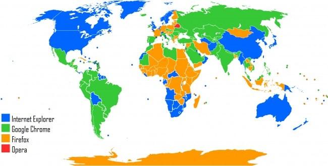 Karte von beliebten Internet-Browser
