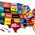 Karte von beruehmten Marken in allen US-Bundesstaaten