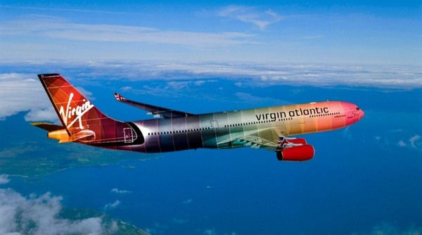 Regenbogen Flugzeug Virgin Atlantic