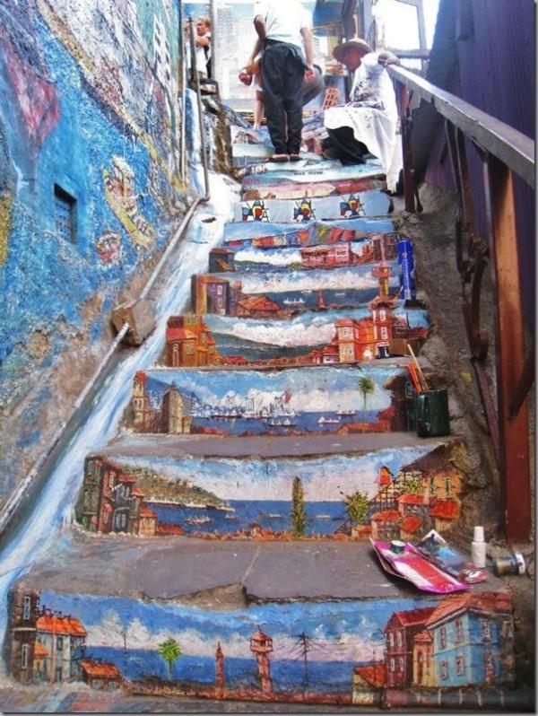 graffiti kunst street art auf den treppen in der ganzen welt. Black Bedroom Furniture Sets. Home Design Ideas
