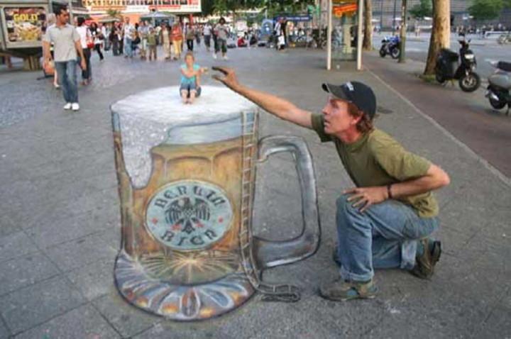Bürgersteig-Kunst-Bier -