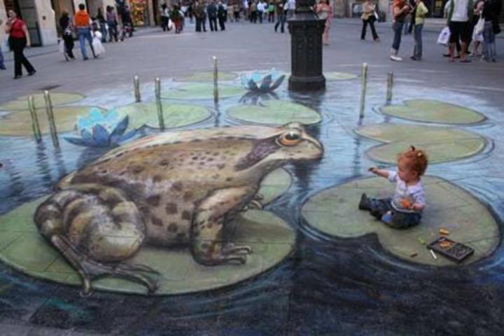 Bürgersteig-Kunst-Frosch