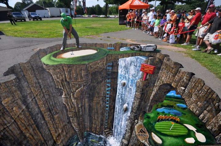 Bürgersteig-Kunst-Golfer