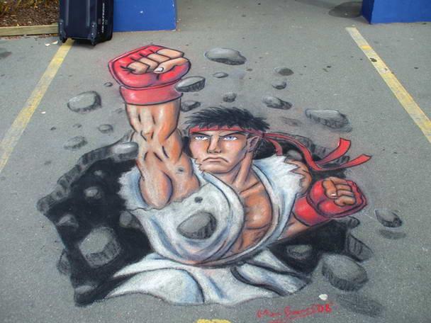 Bürgersteig-Kunst-Ryu