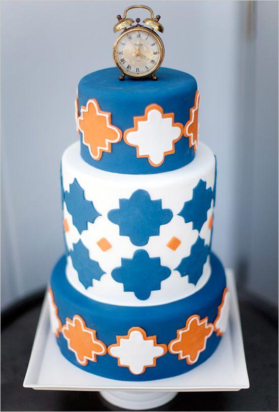 3-Tier-Navy blau und Orange-Hochzeits-Kuchen-Dekoration-Ideen ...