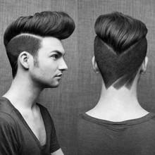 Coole Herren-modernen Haarschnitt mit Muster geschnitten in neck
